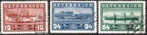 Stamp Austria SC 0382-4 1937 Steam Ship Boat Danube River Service Uranus Used