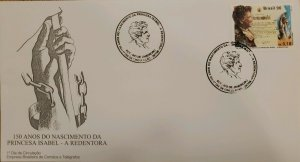 A) 1996, BRAZIL, 150 YEARS OF THE BIRTH OF PRINCESS ISABEL- THE REDEEMER, FDC, E