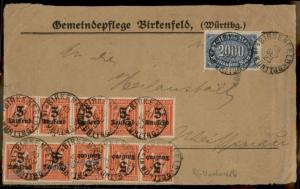 Germany Inflation FRONT Sept 10 1923 First Day Rate Birkenfeld 72576