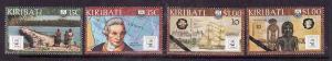 Kiribati-Sc#504-7-Unused NH set-Australia Bicentennial-Maps-Capt. Cook-1988-