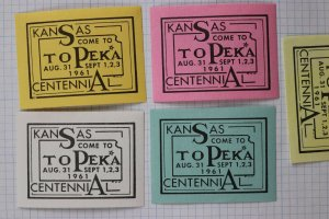 Topeka Kansas KS Centennial 1961 Celebration fair Tourism ad poster stamp seal