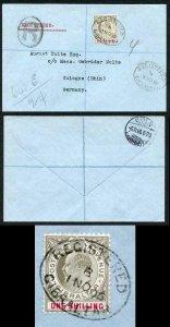 Gibraltar SG61a 1906 1/- on SUPERB registered cover to Germany