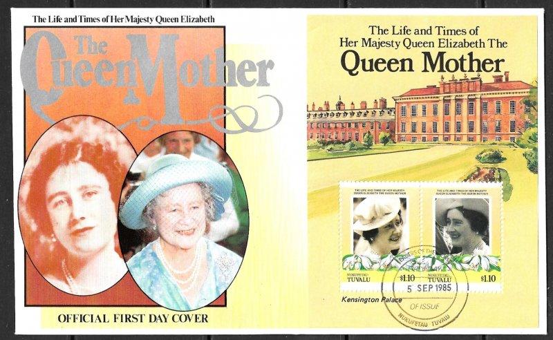 TUVALU NUKUFETAU 1985 Queen Mother's 85th Birthday Souvenir Sheet Sc 48 FDC