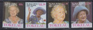 Tokelau # 284-287, Queen Mothers 100th Birthday, NH, 1/2 Cat