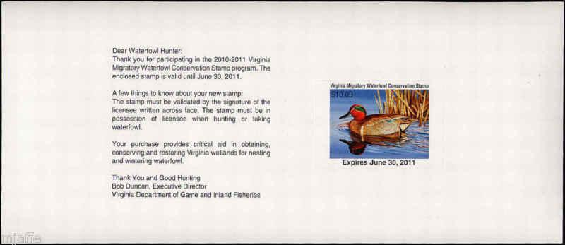 VIRGINIA #23B 2010 STATE DUCK PEEL & STICK GREEN WINGED TEAL by Guy Crittenden