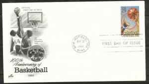 2560 FDC Basketball stamp on Art Craft Cache U/A