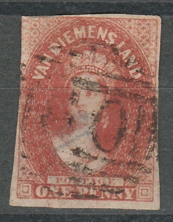 TASMANIA 1855 QV CHALON 1D WMK STAR IMPERF