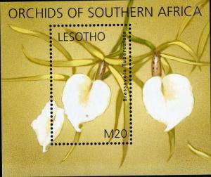 LESOTHO 1326 MNH S/S SCV $8.50 BIN $5.25 ORCHID FLOWER