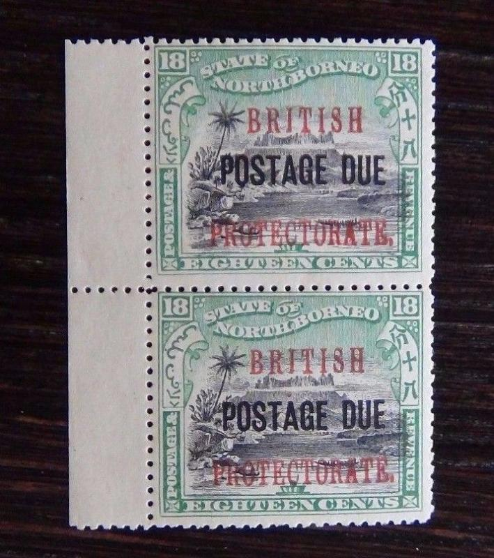 North Borneo Postage Due 1897 - 99 18c Black & Green in pair SGD23 MNH