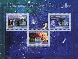 Dinosaurs and Halley Stamp Edmund Halley Ankylosaurus Iguanodon Pteranodon MNH