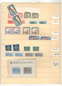 UNITED NATIONS COLLECTION ON STOCK SHEET, ALL MINT, MOSTLY MNH