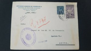 L) 1940 VENEZUELA, PERFIN, DIEGO B . URTBANEJA, 37 1/2 CENTIMOS, COFFE, FARMING
