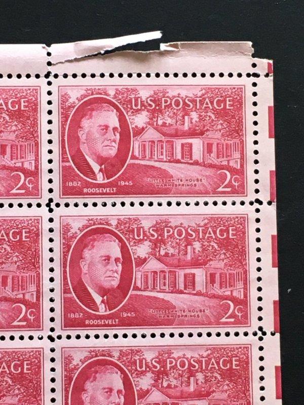 1945 sheet of postage stamps, 2 ¢ Roosevelt, Sc# 931
