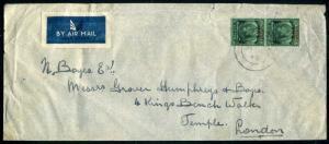 1946 KGVI Malaya Straits Settlements BMA ov AIRMAIL x2 50c to London