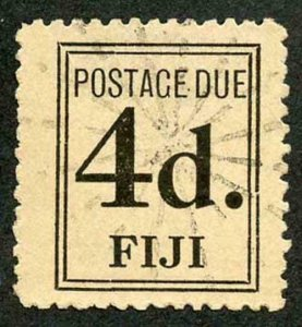 FIJI SGD5 Post Due 1917 (1 Jan) 4d black with part papermakers wmk fine used