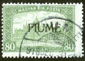 Fiume Sc# 15 Used 1918 80f Hungary Overprint