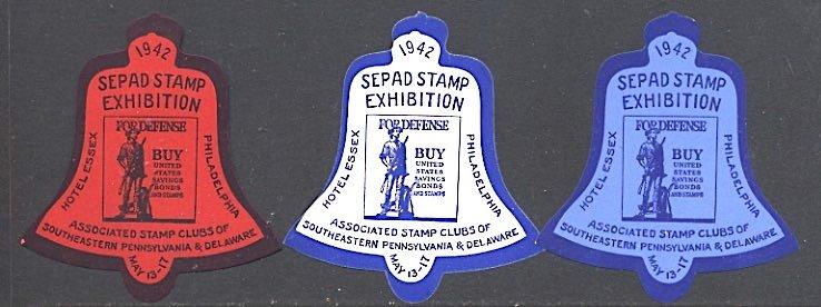 USA Philatelic Cinderella World War II Patriotic SEPAD Liberty Bell Set 1942