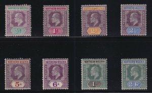 Northern Nigeria Sc #19-26 (1905) 1/2d to 10/- King Edward VII Set Mint H