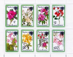 Equatorial Guinea 1979 Flowers Sheetlet (8) ovpt.ICY Perforated MNH YT#126