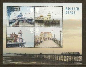 GB 2014 British Piers Mini Sheet MNH 'No Margin Barcode'