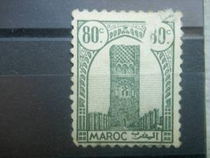 FRENCH MOROCCO, 1943, used 80c, Tower of  Hassan, Scott 184