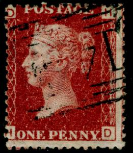 SG44, 1d lake-red plate 165, FINE USED. HD