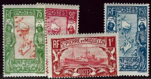 St. Pierre & Miquelon SC#149-151, 153  Mint F-VF...Bargain awaits!!!