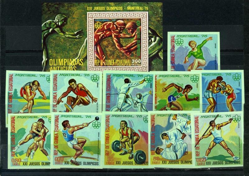 EQUATORIAL GUINEA 1976 OLYMPIC GAMES MONTREAL SET OF 11 STAMPS & S/S IMPERF.MNH