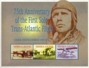 Sierra Leone MNH S/S Lindbergh's 75th Anniversary 1st Solo Trans Atlantic Flight