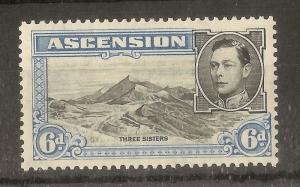 Ascension 1938 6d SG43 P13.5 Mint Cat£14