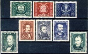 1949-53 Austria MNH OG 8 commemorativ stamps incl. UPU set