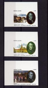 Sierra Leone 1439-41 1991 Mozart set Imperforated MNH (3)