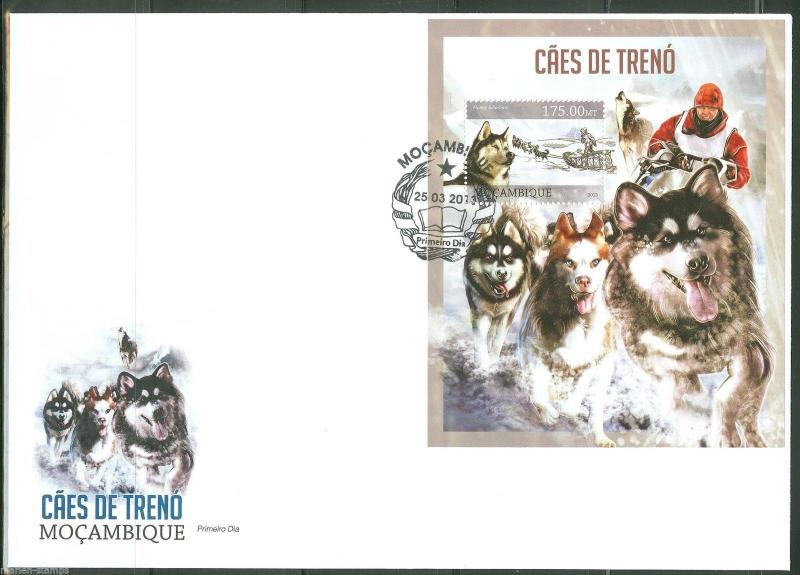 MOZAMBIQUE 2013 SLED DOGS   SOUVENIR SHEET FIRST DAY COVER