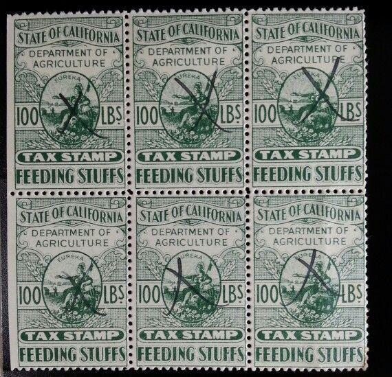 State of California Feeding Stuffs Agriculture Tax Stamp 100 lbs. Block of 6