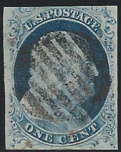 Scott 9, Grid cancel, 1851 Issue (5-17)