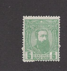 Belgian Congo, 6  King Leopold II Single, **Hinged**