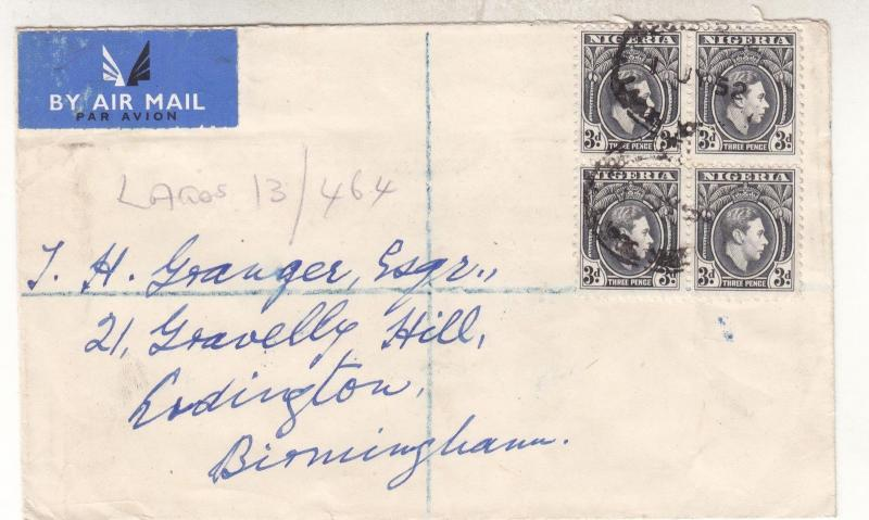 NIGERIA, 1952 Airmail cover, KGVI 3d.(4), Lagos to GB.