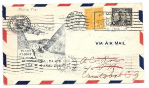 F5-1/2 /L43/44 Dual First Flight Lindbergh USA to Canal Zone & Back 2 sided