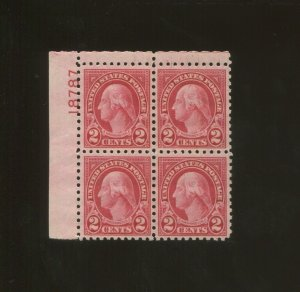 United States Postage Stamp #583 MNH VF Plate No. 18787 Block of 4