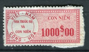VIETNAM; Early CONG-HOA revenue issue Mint unused $1000 value ( paper adhesion)