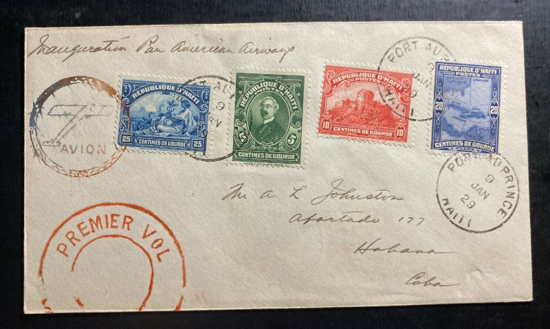 1929 Port Prince Haiti First Flight Airmail Cover FFC To Havana Spanish Antilels