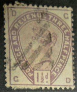 1883 Great Britain Scott #99 1.5p used