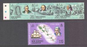 Vanuatu New Hebrides Scott 189/192 - SG192/195, 1974 Discovery Bicentenary MNH**