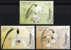 Slovenia. 2016. Common Snowdrop (Amaryllidaceae) (MNH OG) Set of 3 stamps