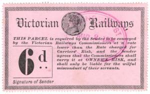 (I.B) Australia - Victoria Railways : Parcel Stamp 6d (1887)