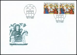 Slovakia 1994 FDC 46 Christmas Slovak Traditional Painting on Glass: Nativity