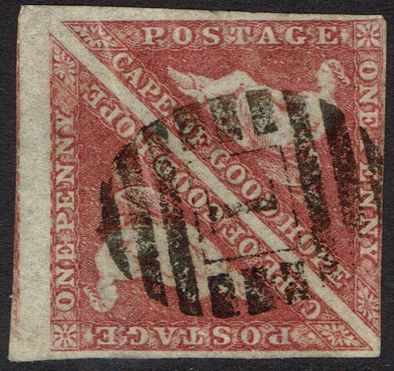 CAPE OF GOOD HOPE 1855 TRIANGLE 1D PAIR PERKINS BACON PRINTING