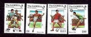 Gambia 639-42 MNH 1986 Soccer set overprinted    (ap3789)