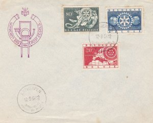 Belgium 1954 Antwerpen Cancels Rotary International Three Stamps Cover Ref 45560