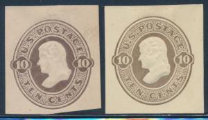 #U91 & #U92 (2) DIFFERENT 10¢ CUT SQUARES CV $168 BT4816